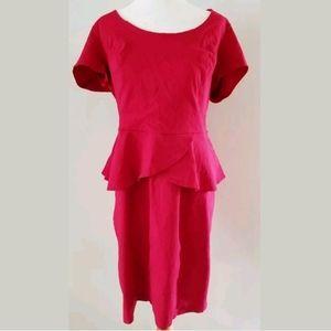 TORRID RED LIPSTICK PEPLUM DRESS SZ 1X 16